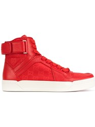 Gucci Red Leather Hi Top Trainers