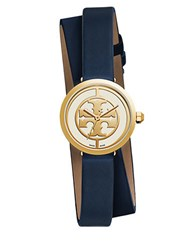 Tory Burch Logo Reva Stainless Steel Double Wrap Leather Strap Watch Navy Blue