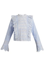 Sea Ruffle Trimmed Striped Broderie Anglaise Top Blue White