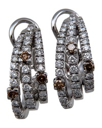 Damiani 3 Strand Diamond Curve Earrings