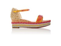 Christian Louboutin Women's Madmonica Leather Wedge Espadrille Sandals Orange Yellow
