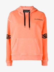 Filles A Papa Piper Tattoo Print Hoodie Neon Orange Black