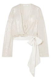 Jenny Packham Penelope Satin Trimmed Sequined Silk Chiffon Wrap Blouse Ivory