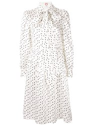 Shrimps Polka Dot Pussy Bow Dress White