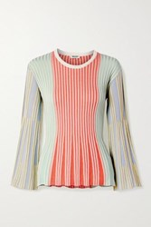 Kenzo Striped Ribbed Knit Top Red