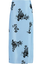 Emilia Wickstead Wrap Front Printed Silk Organza Midi Skirt Blue