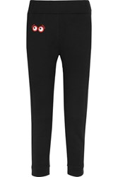 Fendi Appliqued Cotton Jersey Track Pants Black