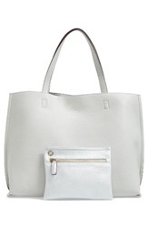 Street Level Reversible Faux Leather Tote And Wristlet Grey Grey Silver