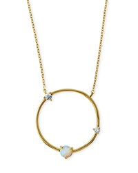 Tai Large Opal Circle Pendant Necklace Gold