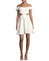 Cinq A Sept Vanessa Off The Shoulder Fringe Trim Party Dress Ivory