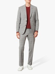 Jaeger Wool Overcheck Regular Fit Suit Trousers Grey