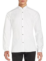 The Kooples Solid Fitted Cotton Shirt White