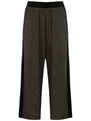 Olympiah Cropped Metallic Panelled Trousers Black