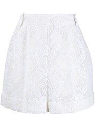 Alexander Mcqueen High Waisted Lace Shorts White