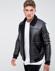 Barney's Originals Faux Leather Borg Collar And Lining Jacket Black