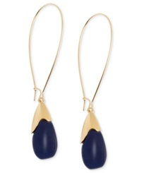 Robert Lee Morris Soho Earrings Gold Tone Blue Oval Bead Drop Earrings