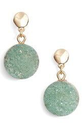 Treasure And Bond Drusy Post Drop Earrings Green Gold