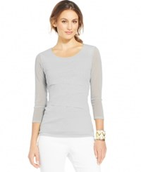 Alfani Tiered Mesh Top Only At Macy's Ash Grey