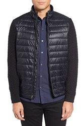 Zachary Prell Men's 'Beacon' Trim Fit Quilted Cable Knit Zip Sweater Black