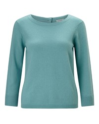 Jigsaw Button Back Silk Cuff Jumper Blue