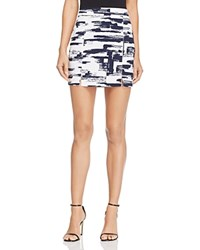 Aqua Brushstroke Mini Skirt Navy White