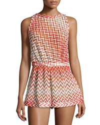 Missoni Mare Metallic Zigzag Romper Coverup Red