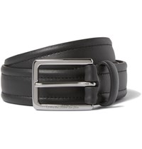 Ermenegildo Zegna 3Cm Black Stitched Leather Belt Black