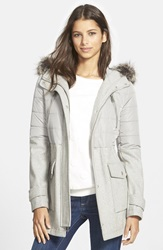 Bcbgeneration Faux Fur Trim Hooded Mixed Media Coat Online Only Grey