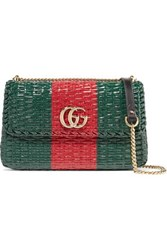 Gucci Linea Cestino Leather Trimmed Coated Wicker Shoulder Bag Green