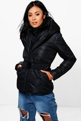 Boohoo Hooded Quilted Coat Black