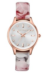 Ted Baker Women's London 'Dress Sport' Patent Leather Strap Watch 32Mm Rose Silver