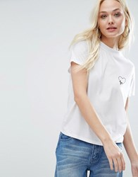 Daisy Street High Neck T Shirt With Heart Embroidery White