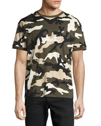 Valentino Camouflage Jersey Ringer T Shirt Green Green Pattern