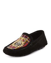 Donald J Pliner Vitox Beaded Skull Loafer Black Tartan