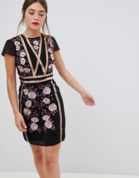 Frock And Frill Short Sleeve Dress With Embroidered Panel Black