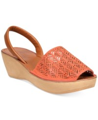 Kenneth Cole Reaction Women's Fine Glass Platform Wedge Sandals Women's Shoes Coral Tan