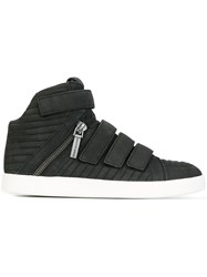 Balmain Pierre Velcro Hi Top Sneakers Black