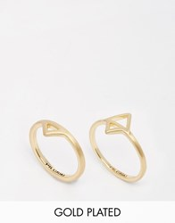 Pilgrim Gold Plated Triangle Double Ring Gold