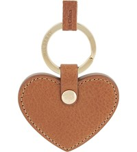Mulberry Leather Heart Keyring Oak