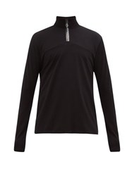Acne Studios Ellington Logo Placket Quarter Zip Jersey Top Black