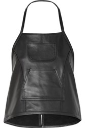 Sandy Liang Congee Buckled Backless Leather Top Black Gbp