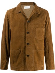 Officine Generale Button Down Fitted Jacket Brown