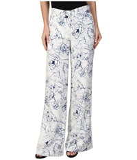 Sam Edelman Printed Floral Trouser Linen White Women's Casual Pants