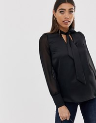 River Island Pussybow Blouse In Black