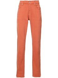 7 For All Mankind Slim Fit Jeans Yellow Orange