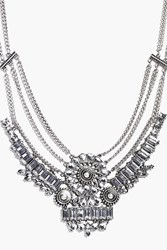 Boohoo Statement Floral Gem Necklace Silver