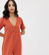 Akasa Exclusive Button Front Beach Playsuit In Rust Orange