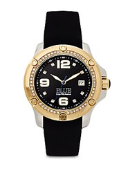 Saks Fifth Avenue Stainless Steel Watch Black Black Gold