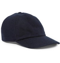 Brunello Cucinelli Leather Trimmed Cashmere Baseball Cap Navy