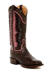Lucchese Twisted Leather Cowboy Boot Brown